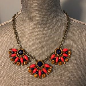 J.Crew Coral and Navy Gem Necklace